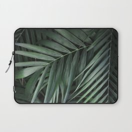 Elegant Green Tropical Leaves Laptop Sleeve