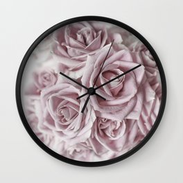 Cotton Candy Roses Wall Clock