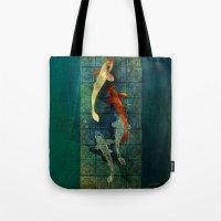 koi Tote Bags featuring Koi by Elsa Herrera-Quinonez