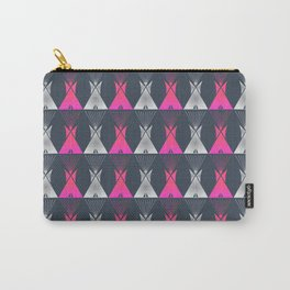 Pink Grey Native American Tipi Carry-All Pouch