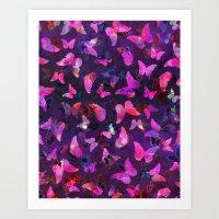 Butterfly Forest Purple Art Print