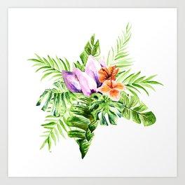 Tropical flower bouquet Art Print