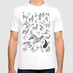 camelids MEDIUM White Mens Fitted Tee