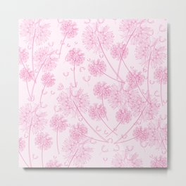 Dandelion Plants, Flower Heads - Pale Pink Metal Print
