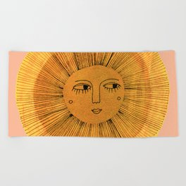 Sun Drawing Gold and Pink Beach Towel
