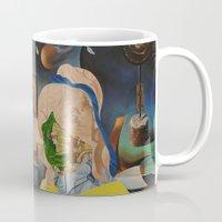 gemini Mugs featuring Gemini  by Linda Wandt