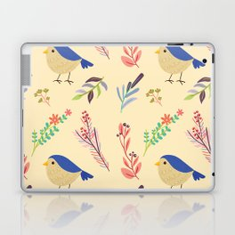 Cute hand painted blue coral ivory bird floral pattern Laptop & iPad Skin