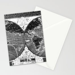 Black and white World Map (1595) Inverse Stationery Cards