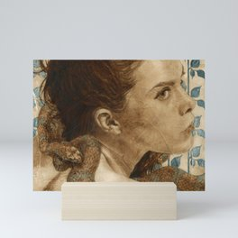 'Original Sin Rebirth' Woman and Snake Portrait Painting in Brown Mini Art Print