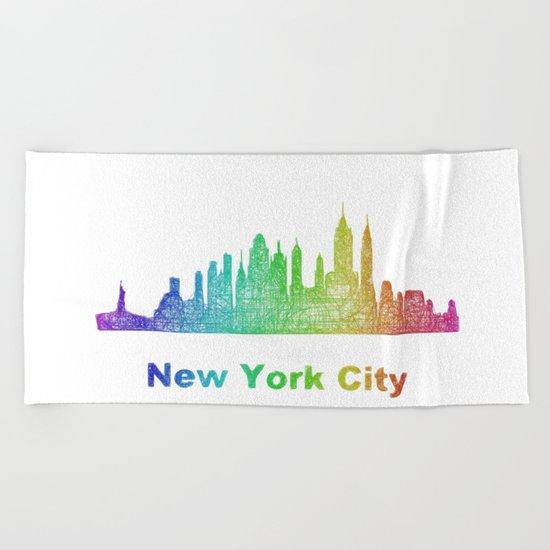 Rainbow New York City skyline Beach Towel