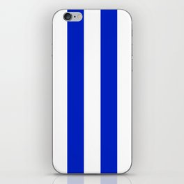 Cobalt Blue and White Wide Circus Tent Stripe iPhone Skin