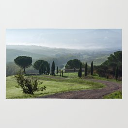 Panoramic view of Val d'Orcia, Tuscany, Italy Rug