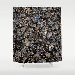 Terrazzo - Marble and Gold Shower Curtain