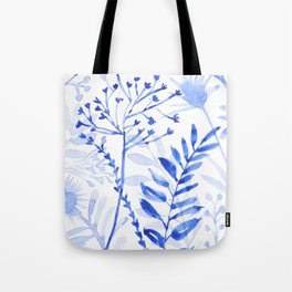 Chamomile Daisies, Eucalyptus, Fennel, Hypericum Floral Watercolor Painting by Tzechee Tote Bag