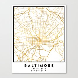 BALTIMORE MARYLAND CITY STREET MAP ART Canvas Print