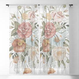 Roses and Poppies Sheer Curtain