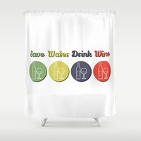 wine Shower Curtains featuring wine by flydesign