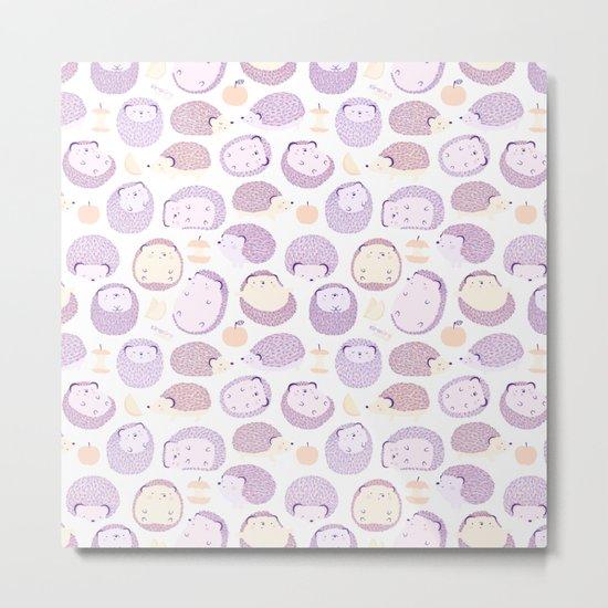 Happy Hedgies - Kawaii Hedgehog Doodle Metal Print