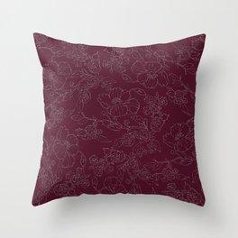 Chic burgundy silver glitter elegant flowers pattern Throw Pillow
