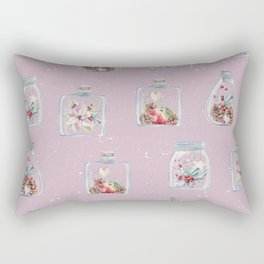 Christmas Pattern Pink Rectangular Pillow