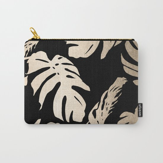 Simply Palm Leaves in White Gold Sands on Midnight Black Carry-All Pouch