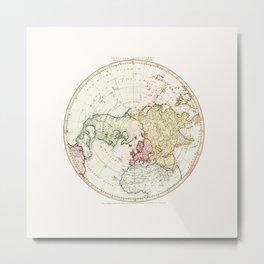 Northern Hemisphere- reproduction of William Faden's 1790 engraving Metal Print