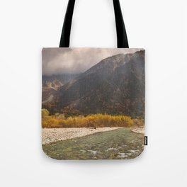 Azusa River and Autumn colours in Kamikochi, Japan Tote Bag