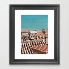 Swimming roofs Framed Art Print