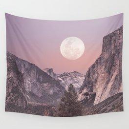 Pastel Full Moon Over Yosemite Park Wall Tapestry