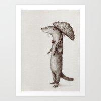 otter Art Prints featuring Otter by liquidmoon