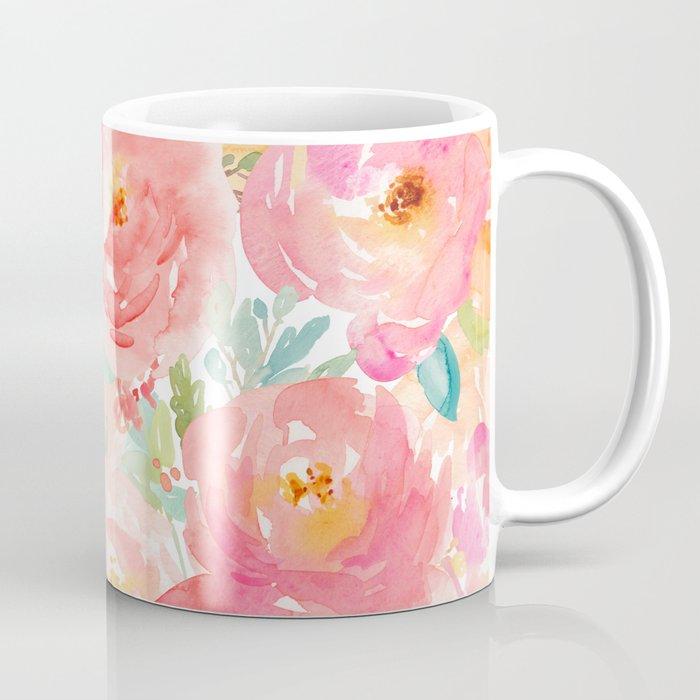 Preppy Pink Peonies Coffee Mug