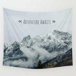 Adventure Awaits - Mountain landscape photo, photography quote, mountain climbing Wall Tapestry