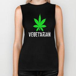 Vegetarian weed leaf Biker Tank