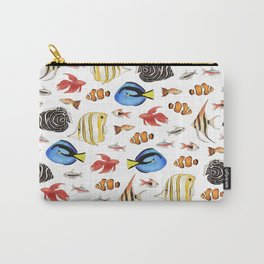 Tropical Fish on White - pattern Carry-All Pouch
