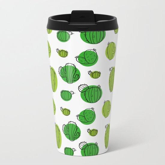 Green Cactus pattern Metal Travel Mug