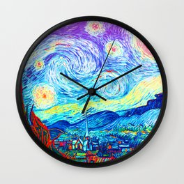 Psychedelic Starry Night Abstract Van Gogh Wall Clock