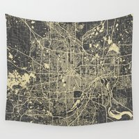 minneapolis Wall Tapestries featuring Minneapolis Map by Map Map Maps