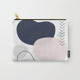 Navy Blush and Grey Smooth Shapes Carry-All Pouch