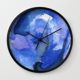 Projection: violent abstract shades of purples and blues Wall Clock
