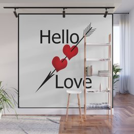 Hello love! White background . Wall Mural