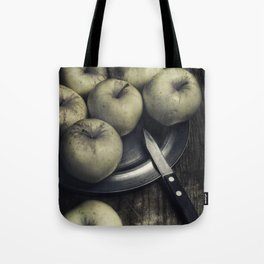 Still life with green apples Tote Bag