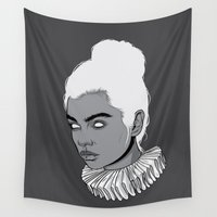 gray Wall Tapestries featuring Gray lady by Roland Banrevi