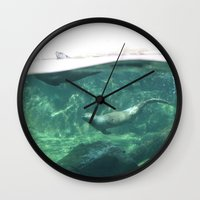 otters Wall Clocks featuring Swimming Otters by Pokemon-Chick-1