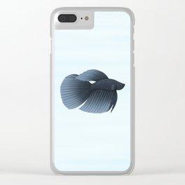 betta splendens black veiltail male Clear iPhone Case