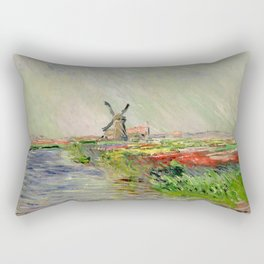 "Claude Monet ""Tulip field in Holland (Champ de tulipes en Hollande)"" Rectangular Pillow"