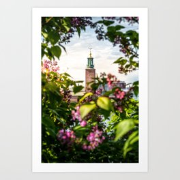 Stockholm City Hall in Summer Greens Art Print