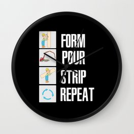 Form Pour Strip Repeat - Funny Asphalt Road Worker Wall Clock