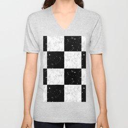 Elegant black white marble Unisex V-Neck