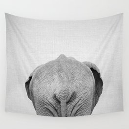 Elephant Tail - Black & White Wall Tapestry