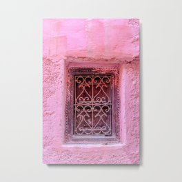 Colorful Pink Window in Morocco in Marrakech Metal Print